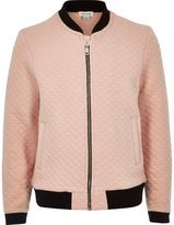 River Island Girls pink quilted jacquard bomber jacket