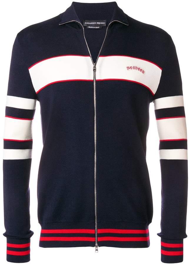 Alexander McQueen striped front-zip cardigan