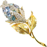 One Kings Lane Vintage Ciro Blue Crystal Rose Brooch