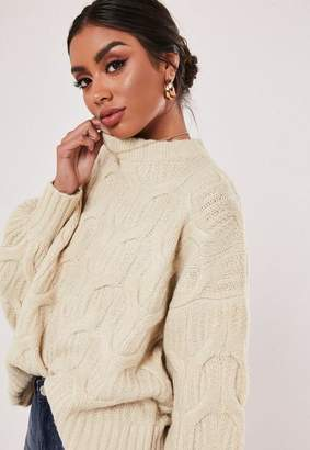 Missguided Tall Stone 3D Plait Cable Knit Sweater