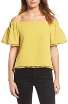 Willow & Clay Women's Pompom Off The Shoulder Top
