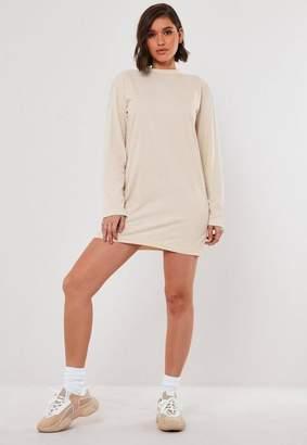Missguided Stone Basic Long Sleeve T Shirt Dress