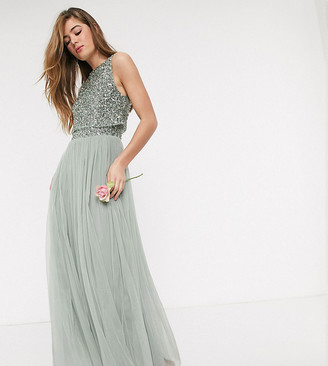 Maya Tall Bridesmaid sleeveless midaxi tulle dress with tonal delicate sequin overlay in sage green