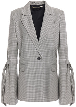 Roland Mouret Knotted Embroidered Checked Wool And Silk-blend Blazer