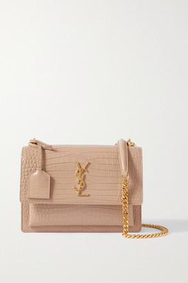 Saint Laurent Sunset Small Croc-effect Glossed-leather Shoulder Bag
