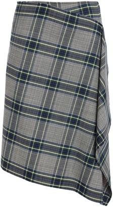Cédric Charlier Asymmetric Draped Checked Woven Skirt