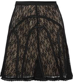 Alexander Wang Faux Leather-trimmed Embellished Lace Mini Skirt