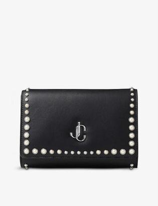 Jimmy Choo Varenne leather and pearl clutch bag