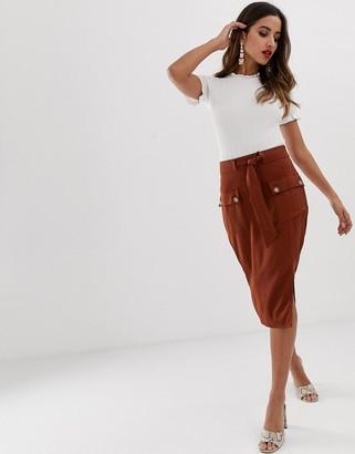 Lipsy utility midi skirt in chocolate brown