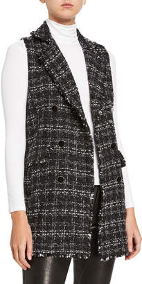 Laundry by Shelli Segal Tweed Double Breast Fringe Vest