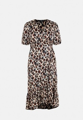 Missguided Plus Size Brown Leopard Print Frill Midi Dress