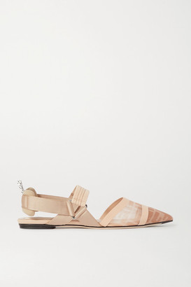 Fendi Colibri Logo-print Mesh, Rubber And Stretch-canvas Slingback Flats - Blush
