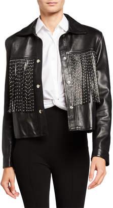 Nour Hammour Leather Moto Jacket with Studded Fringe