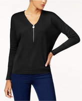 MICHAEL Michael Kors Cotton Zip-Neck Sweater, Created for Macy's