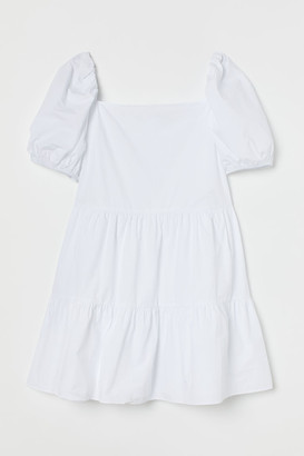 H&M H&M+ Short Cotton Dress - White