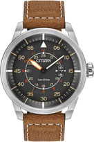 Citizen Eco-Drive Mens Brown Leather Watch AW1361-10H