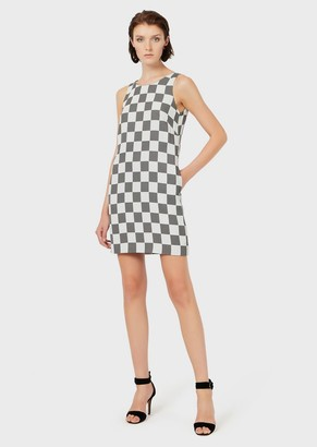Emporio Armani Checkerboard Cady Sheath Dress