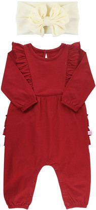 RuffleButts Girl's Cranberry Solid Ruffle Jumpsuit w/ Bow Headband, Size 0-24M