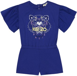 Kenzo Kids Logo stretch-cotton playsuit