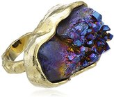 Bex Rox 24ct Yellow Gold Plated Dyed Drusy Blue Quartz Mara Ring - Size K