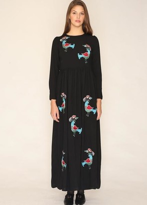 PepaLoves Long Embroidered Bird Dress - s