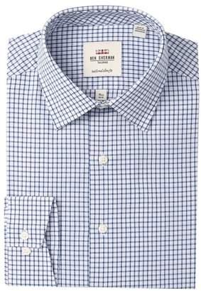 Ben Sherman Mens Skinny Fit Mini Check Button Down Collar Dress Shirt