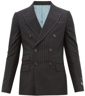 Gucci Signoria Double-breasted Pinstriped Wool Blazer - Dark Grey
