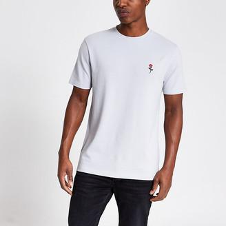 River Island Grey rose pique slim fit T-shirt