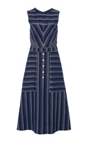 Carolina Herrera Denim Striped Midi Dress