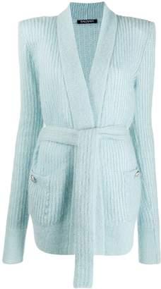 Balmain belted longline cardigan