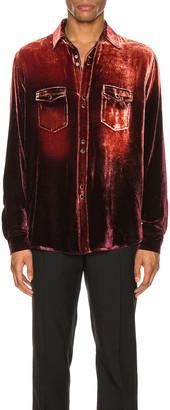 Saint Laurent Oversized Shirt in Burgundy Light Bleach | FWRD
