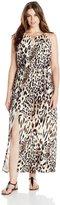 Sandra Darren Women's Plus-Size Sleeveless Animal Print Key Hole Maxi Dress, Neutral/Black, 18W