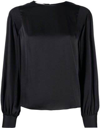Vince Satin Blouse With Ruched Shoulders