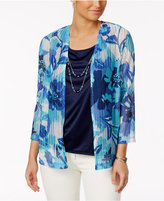 Alfred Dunner Scenic Route Layered-Look Floral-Print Top