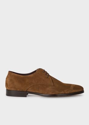 Men's Tan Suede Leather 'Coyle' Derby Shoes With 'Signature Stripe' Details
