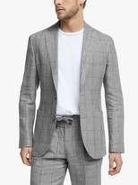 John Lewis & Partners Linen Check Relaxed Fit Suit Jacket, Grey