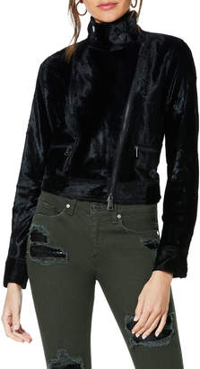 Ramy Brook Danser Cropped Velvet Moto Jacket