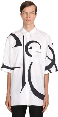 Givenchy Macro Logo Printed Cotton Poplin Shirt