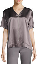 Lafayette 148 New York Caprice Chain-Trimmed Charmeuse Blouse, Medium Purple, Plus Size