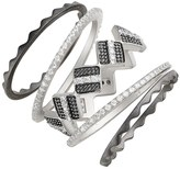 Freida Rothman Rhodium Plated Sterling Silver Contemporary Deco Geo Stackable Rings - Set of 5 - Size 9