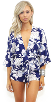 West Coast Wardrobe Island Getaway Floral Romper in Navy