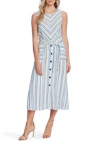 Vince Camuto Wistful Stripe Sleeveless A-Line Midi Dress