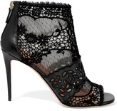 Valentino Laser-cut Leather, Lace And Tulle Ankle Boots - Black