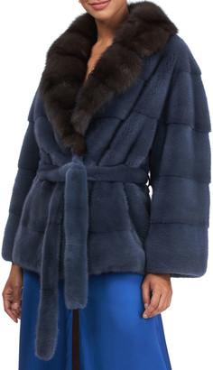 Gorski Long Hair Mink Jacket With Sable Collar