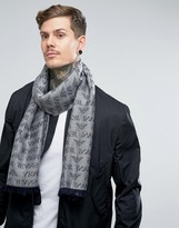 Armani Jeans Wool Mix Logo Scarf In Grey