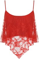 WearAll Women's Lace Camisole Crop Top - US 4-6 (UK 8-10)