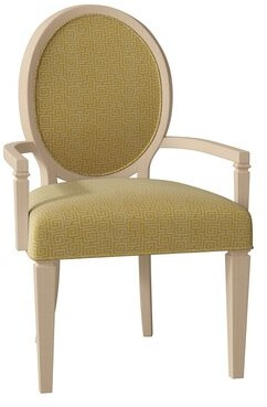 Brighton Upholstered King Louis Back Dining Chair Hekman Body Fabric: 1541-084, Leg Color: Antique Vanilla