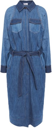 Brunello Cucinelli Belted Bead-embellished Denim Midi Shirt Dress