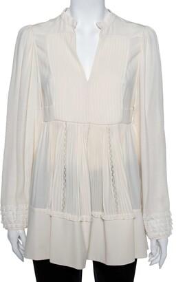 Valentino Cream Silk & Lace Pintuck Detail Tunic M