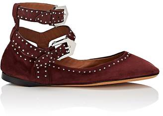 Givenchy Women's Elegant Line Studded Suede Flats